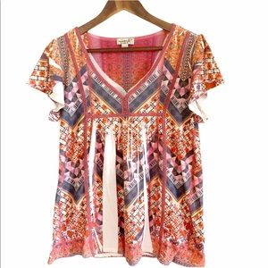 3/$20 One World Vneck Soft Graphic Bohemian Blouse